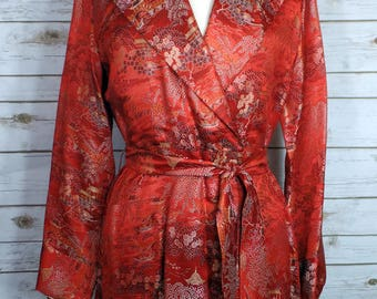 Glam Vintage 1940s or 50s Red Silk Robe From Japan Size Medium or Large