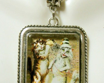 Party cats pendant with chain - CAP05-156