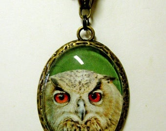 Brown owl pendant with chain - BAP09-004