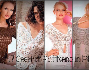 47 Crochet Patterns. Sweater, Jacket, Blousse, Dress. E-book. Instant Download PDF. Journal Mod #476