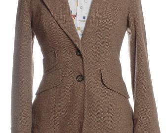 Vintage 1970's Brown Herringbone Tweed Jacket 8 - www.brickvintage.com