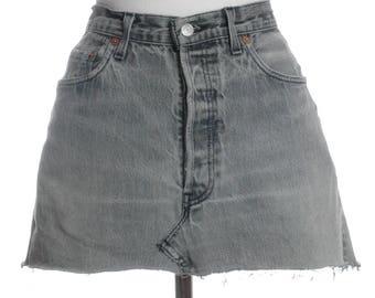 Vintage Levi's 501 Grey Denim Mini Skirt W32 14 - www.brickvintage.com