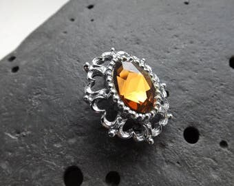 Vintage Silver Plated Brooch with Orange Semi Precious Stone