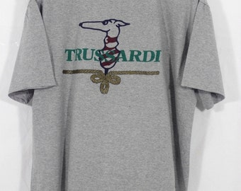 Vintage Trussardi Big Logo T Sshirt Made in Italy Size Large L / trussardi Shirt / Trussardi t shirt