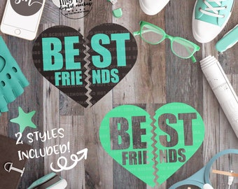 Best Friends SVG, BFF svg, DIY Best Friend Shirt, Heart svg, Besties svg, eps, dxf, png Cut Files for Silhouette for Cricut