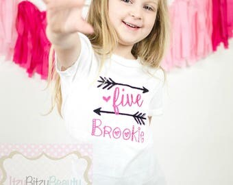 Girls Birthday Shirt ANY AGE / COLOR First Second Third Fourth Fifth Arrow Embroidered