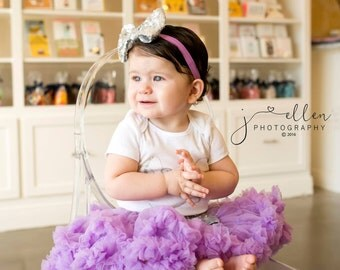 LAVENDER PETTISKIRT with BOW, Lavender Tutu, Newborn Pettiskirt, Baby Pettiskirt, Toddler Pettiskirt, Smash Cake, Birthday Outfit.