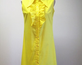 Vintage Yellow Button Front 60s Cotton Dress / Ruffle Front Shift Dress