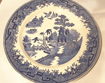 "Clearance 10% Off Sterling, Ohio Charger Plate Blue Willow Pattern 10"" Pagoda"