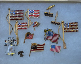 Vintage USA American Flag Brooch Pins Lot Red White & Blue Liberty Bell Pin Patriotic FREE Shipping