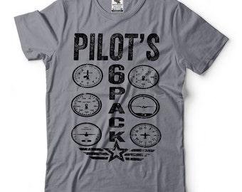 Pilot T-Shirt Funny Pilot Tee Shirt Pilot's Six Pack Tee Shirt