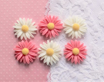 6 Pcs Matte Large Pink and White Dandelion Flower Cabochons - 27mm