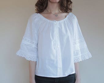70's peasant blouse white cotton with ornate lace sleeves/ summer boho flower child