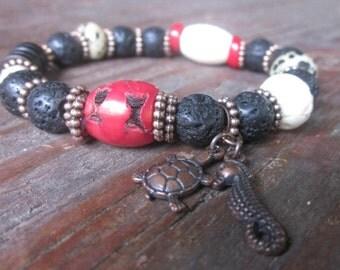 mens Lava stone bracelet red coral white mens mala dalmatian jasper sea turtle bracelets seahorse charm unisex boho yoga stretch bracelet