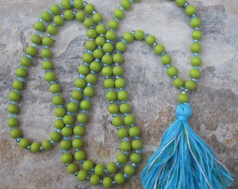 108 Beaded tassel necklace lime green wood tropical necklace blue glass Bohemian mala boho extra long hippie chic yoga mala colorful tassel
