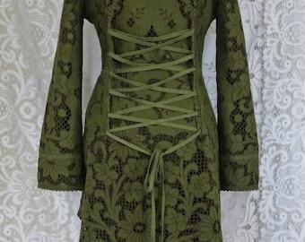 Sale!!GREEN LACE JACKET cardigan fleece crochet gypsy Steampunk Pixie Tribal
