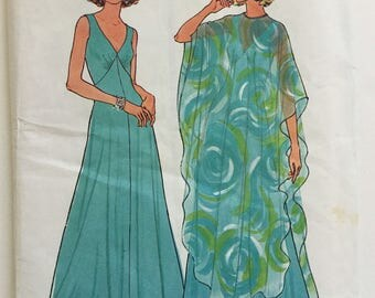 70s evening dress pattern, 70s gown style dress and poncho, Simplicity 7183, Size 16,  floaty cover up, ankle length, size medium