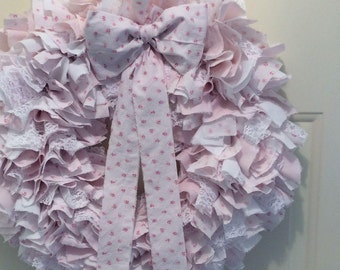 Pink Rose RA Fabric Wreath w/ Bow