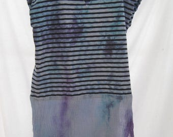 Plus size hand dyed funky dress, trendy plus size long tunic, turquoise t-shirt dress with gauze, up cycled cotton lagenlook boho artsy top