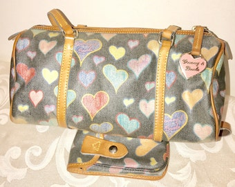 Vintage Dooney & Bourke Barrel Bag in Heart Print and Matching Wristlet