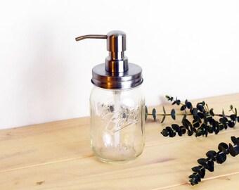 Mason Jar Soap Dispenser, Pint Size, Rust Resistant, Rust Proof Soap Dispenser, Ball Jar Dispenser, Hand Soap, Dish Soap, Clear Glass Jar
