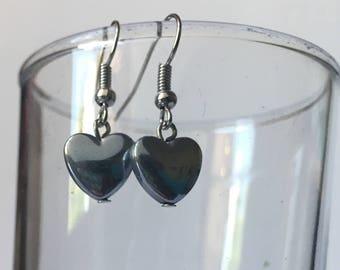 Beaded Silver Heart Dangle and Drop Earrings