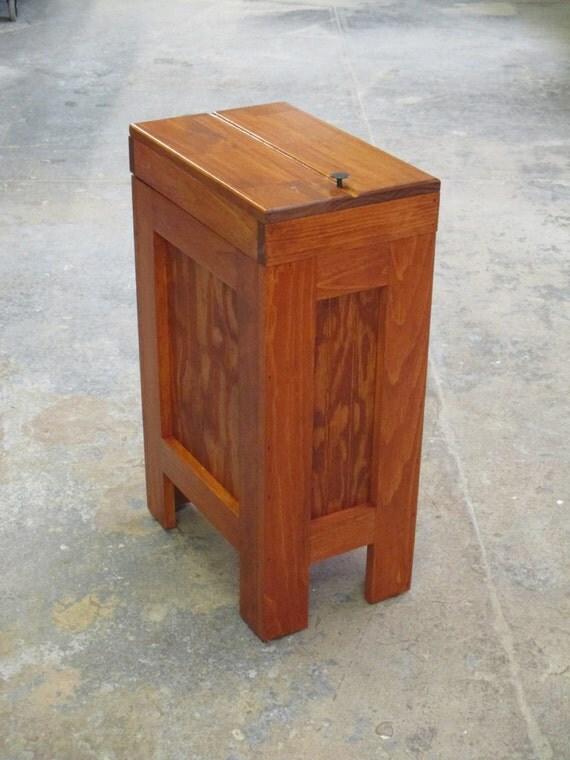 Wood trash bin kitchen garbage can wood trash can garbage - Wooden kitchen trash can with lid ...