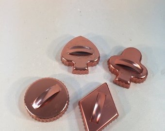 Vintage Set of 4 Copper Tone Aluminum Cookie Cutters