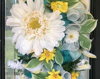 Spring Wreath, Summer Wreath, Door Swag, Door Hanger, Wreath for door, Large wreath, Whimsical Wreath