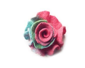 Felted flower brooch felt flower brooch flower felt floral brooch pink green turquoise merino wool brooch spring boho women's gift OOAK
