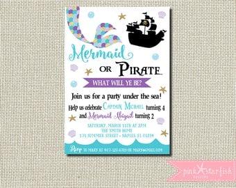 Mermaid and Pirate Invitation, Mermaid and Pirate Birthday Invitation, Dual Birthday Invitation, Sibling Birthday Invitation, Mermaid