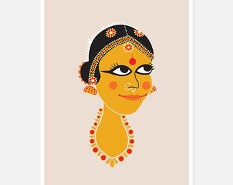 Indian Dancer Print - Bharatnatyam, classical dancer
