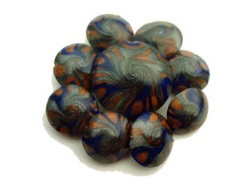 Copper, Blue, and Silver Polymer Clay Swirl Lentil Beads- 9 piece