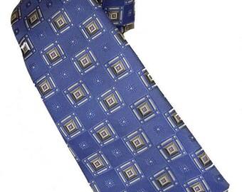 "Vtg Rooster Necktie 100% Silk Carolina Blue Square Geometric Design 3.5"" Wide"