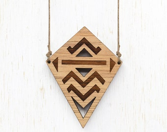 SALE - Texas - Geometric Tribal Wood Necklace - laser cut