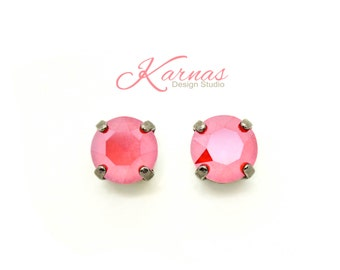 CRYSTAL ROYAL RED 8mm Crystal Drop or Stud Earrings Made With Swarovski Elements *Pick Your Finish *Karnas Design Studio *Free Shipping*