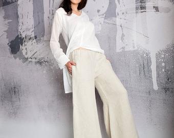 Pants, beige pants, linen pants, wide pants, Long pants, lose pants, casual pants, summer pants, Yacht clothes, UrbanMood - UM-185-LN