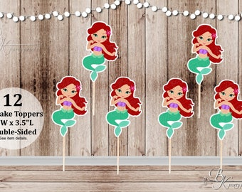 Mermaid Party - Set of 12 Mermaid Inspired Double Sided Cupcake Toppers