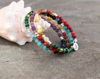 Silver Om Charm, Yoga Bangle, Chakra Bracelet, Rainbow Bangle, MultiColor Natural Stone, Memory Wire, Zen Bracelet Chakra Color, Ohm Charm