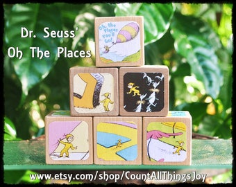 """Personalized Dr Seuss, """"OH THE PLACES You'll Go"""", Storybook Wooden Blocks, for Nursery Decor, Birthday, Gift for Boys, Girls Large Medium"""