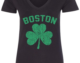 Boston Green Shamrock Irish Pride Women's V-Neck Fitted T-Shirt St. Patrick's Day - TA_00132
