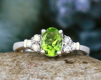 5x7MM Peridot and Diamond Engagement <Prong> Solid 14K Gold Colored Stone Wedding Ring *Fine Jewelry* (Free Shipping)