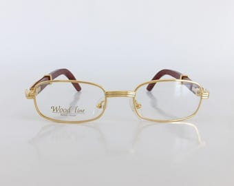 Gold and wood eyewear, Gold & silver plated glasses, Brown bamboo temple arms, Vintage dead stock eyeglasses, Woodline, Wood Line eyewear