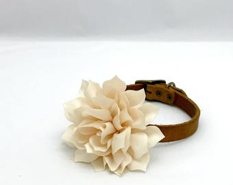 Dog Collar Flower for Weddings Engagement Photos Girl Dog Collar Gray Ivory and White