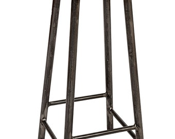 Rick Hyde - Leather Upholstered Seat Round Steel Frame Bar Stool