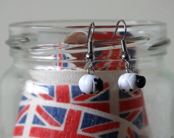By the Shed Sheep Lamb Drop Dangle Earrings - White - Countryside, Farm Animals, Wildlife, Present, Herdwick, Farming, Screw Back, Clip On