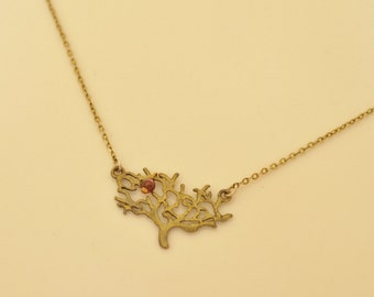 Delicate Gold Necklace, Gold Tree Necklace, Tree of Life, Garnet Necklace, Christmas gift, U.K