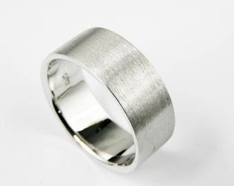14k White Gold Wedding Band - Brushed Finish - Flat - Handmade - Men - Women - 2,3,4,5,6,7,8,9 or 10mm wide.Thickness 1.2mm.FREE SHIPPING.