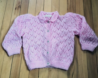 Vintage 1970s Girls Pink Handmade Knit Sweater Cat Kitty Buttons! Size 3-4