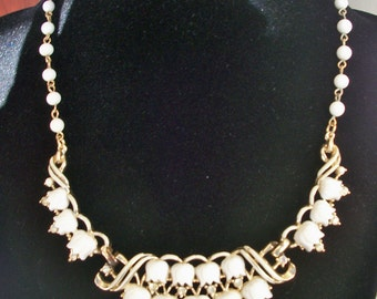 Vintage Milk Glass  Tulip and Rhinestone Necklace